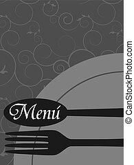 Basic RGB - Vector menu pattern with spoon and fork on grey...