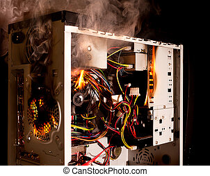 Computer burning - Inside of a desktop computer burning on...