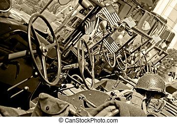 American Jeeps - Row of American World War II jeeps,...