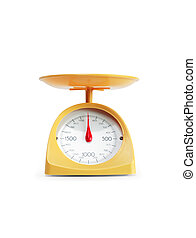 Modern Kitchen Scale - Modern yellow kitchen scale isolated...