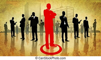 Team of businessmen in the city. Global communiaction.