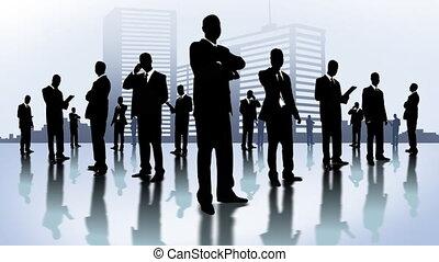 Men in black in the city. Company of businessmen.