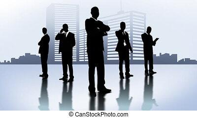 Men in black in the city Company of businessmen