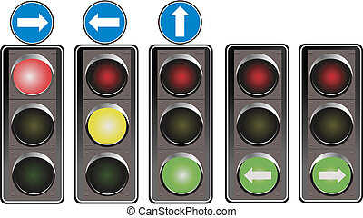 Set of traffic lights. Red signal.
