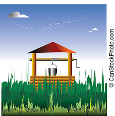 Out-of-town house. The country. A wooden well is in a grass....