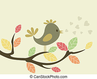 Bird on a tree3 - The bird sits on a tree and sings A vector...