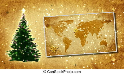 Christmas tree on the postcard Retro style