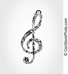 Musical key made of musical instruments. A vector...