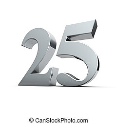 Silver wedding - Rendering of a silver twenty-five number