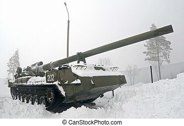 2S7 Pion self-propelled artillery unit in the snow