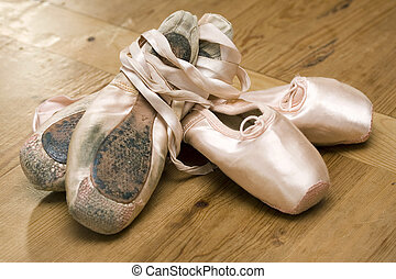 Ballet shoes - old & new - Pairs of old and new ballet shoes...