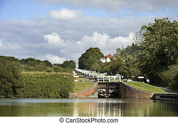 Lock gates landscape - The Kennet and Avon Canal lock gates