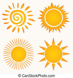 Sun icons4 - Set of icons of the orange sun. A vector...