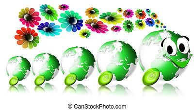 World ecology locomotive flowers - Locomotive smiling with 4...
