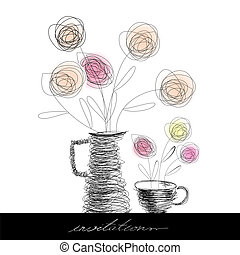 Tea cup and teapot with flowers