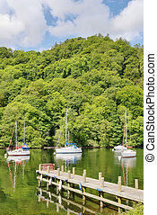 Boats and trees on Windermere - Boats and a jetty in a quiet...