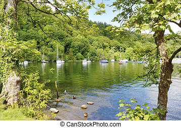 Boats and trees on Windermere - Boats and trees in a quiet...