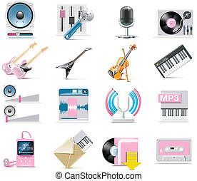 Vector audio and music icon set - Set of simple music...