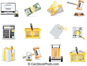 Vector online shopping icon set - Set of on-line auction and...