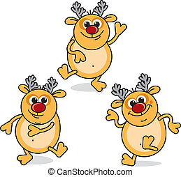 Funny Rudolph - Funny Cartoon Dancing Rudolph, vector...