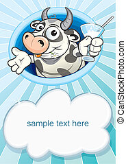 Cow with milk - Baby card with cartoon cow