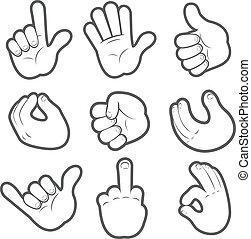 caricatura, mãos, #2
