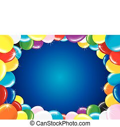 Birthday Balloons - Festive horizontal vector background...