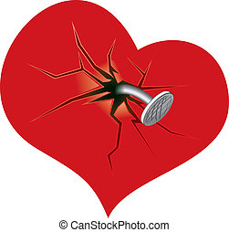 Heart Attached by Nail, vector illustration