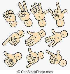 Gestures - Set of various human hand gestures, Detailed...