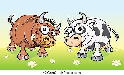 Cartoon Farm - Cartoon farm animals.Cow and Bull on green...