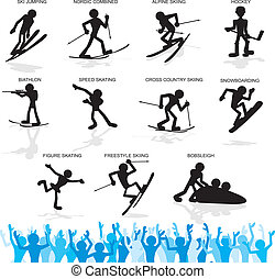 Winter Sport Cartoon Silhouettes