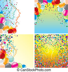 Birthday Backgrounds - Colorful vector backgrounds set with...