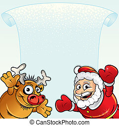 Santa with Rudolph - Christmas background with Funny Santa...