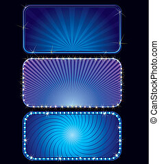 Blue Marquee - Brightly blue cinema or theater marquees