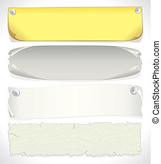 Paper banners, vector illustration of assorted aged papers...
