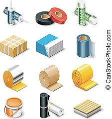 vecteur, bâtiment, produits, icônes, P, 2