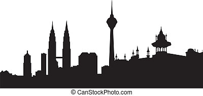 Skyline Kuala lumpur with central station and twin towers