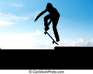 Skater in sky - Skater jump. Element of design.