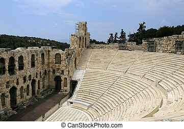 antic theatre in Athens - The Odeon of Herodes Atticus -...
