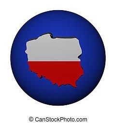 Poland map flag on sphere illustration