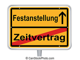 Sign Festanstellung in German words isolated
