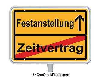 Sign Festanstellung in German words