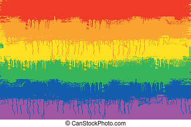 gay flag - grunge illustration of gay and lesbian flag