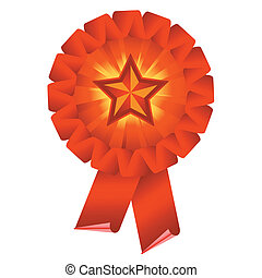 award ribbon rosette - red award ribbon rosette isolated on...