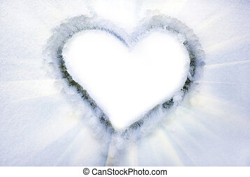 Heart on the snow. Element of design.
