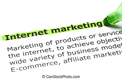'Internet marketing' highlighted in green