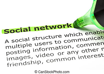 Social network highlighted in green with felt tip pen