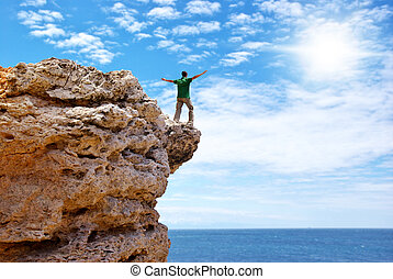 Man on the edge of cliff Emotional scene
