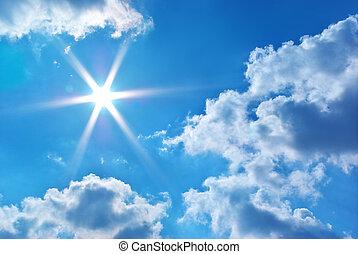 深, 藍色, 天空