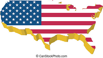 vectors 3D map of USA